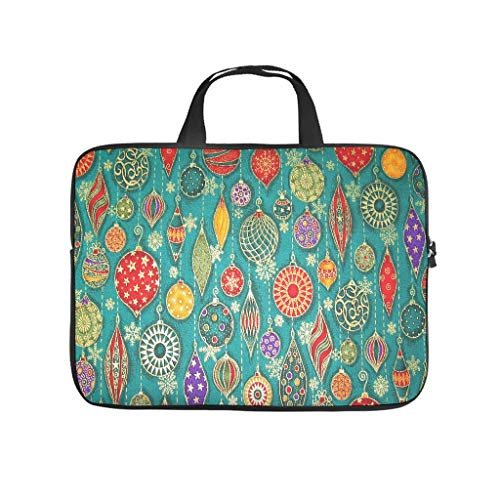 Colourful Christmas Baubles Pattern Laptop Bag Antistatic Protective Case for Laptops Customised Notebook Bag for University Work Business