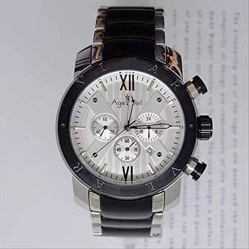 PLKNVT Marca Nuevos Hombres Reloj De Acero Inoxidable Oro Rosa Plata Negro Azul Blanco Cronógrafo Zafiro Impermeable Relojes ClásicosPlata Negro Blanco