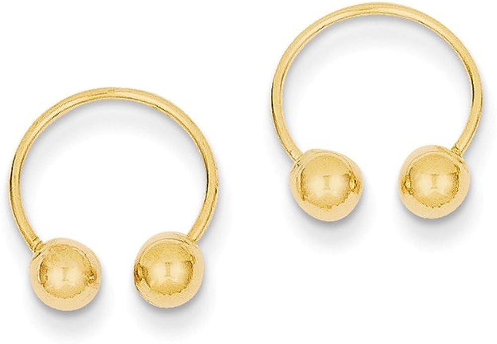 14k Open Hoop Beaded Earrings