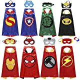 Zaleny Reversible Superhero Capes and Masks Super Hero Costumes for Kids Boys Girls Pretend Play Roleplay Cosplay Outfit 4 Sets