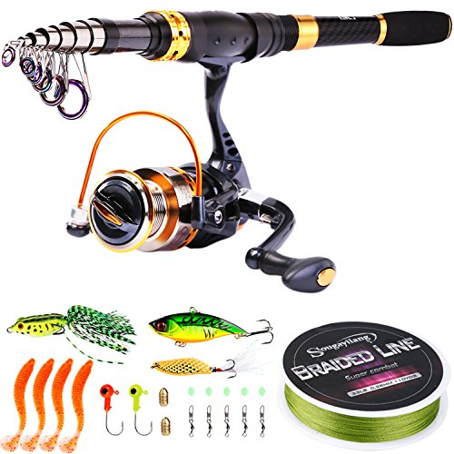 Sougayilang Fishing Rod Reel Combos Carbon Fiber Telescopic Fishing Pole with Spinning Reel Fishing Line Lures Fishing Gear Accessories for Travel Saltwater Freshwater Fishing-2.7M/8.86Ft