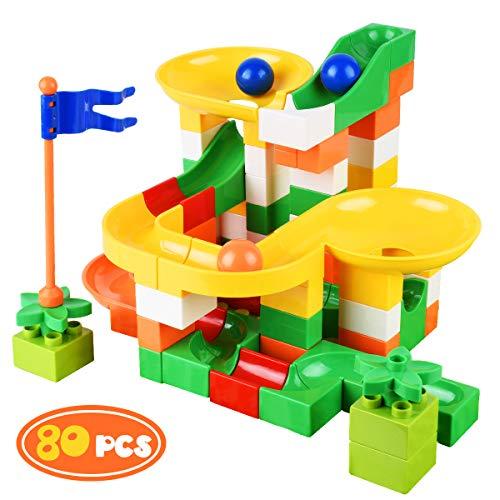 Bheddi Pistas para Canicas 80PCS, Marble Runs Toy para niños, Juguetes educativos para 4 5 6 años Niños Niñas