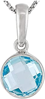JTV Womens 1.85ctw 8mm Round Blue Topaz Solid Sterling Silver Solitaire Pendant