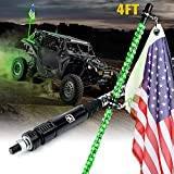 Xprite 4FT Spiral Whip Lights, Green LED Safety Warning Flexible Whips Pole Lighted Antenna w/ US America Flag for Side by Side Buggy Dunes Off-Road UTV ATV Yamaha Polaris RZR Can-Am 4X4 Trophy Trucks