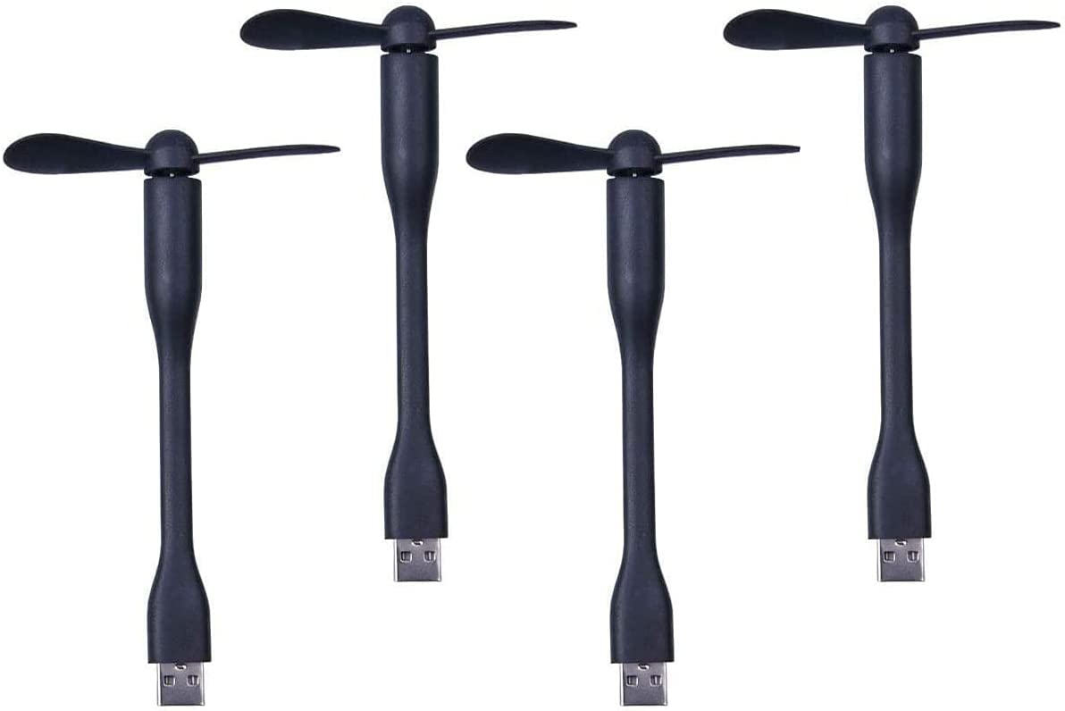 Mini USB Fan.Personal Portable Pocket Fan.Mini fan For mini humidifier/Power Bank/Library/Cinema/Office/Outdoor Traveling/Camping/Fishing【4 PACK 】Black