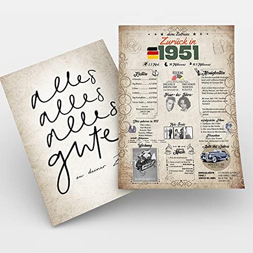 Zeitreise   Geschenk 70. Geburtstag   Geschenkidee Geburtstagsgeschenk   Siebzigsten Geburtstagsdeko   70 Geburtstag Männer, 70 Geburtstag Frau   Geburtstagskarte – 70 Jahre   Geboren in 1951