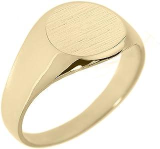 خاتم ختم صلب للرجال من الذهب الأصفر عيار 14 قيراطًا مصقول مستدير الشكل