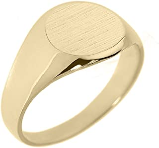 Men's Solid 10k Yellow Gold Engravable Polished Round Top Signet Ring