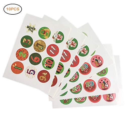 Kerstmis Advent Aantal Stickers Cookies Kerstmis Snoep Afdichting Stickers DIY Gifts Pakket Labels