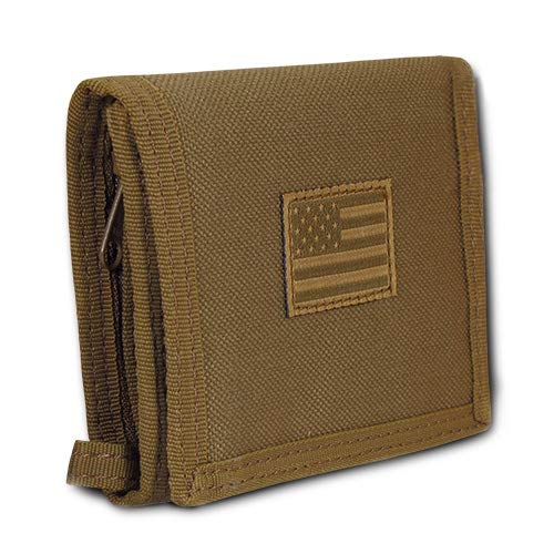 USA US American Flag Tactical Patriotic Military Trifold Wallet Money Holder (Coyote)