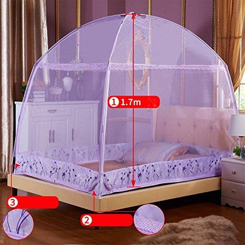 Wly&Home Moustiquaire Pour Le Lit, Moustiquaire Yourte Double Cryptage Domestique Épaissi Trois Portes Pour Faciliter Le Pliage,Purple,1.8Mbed