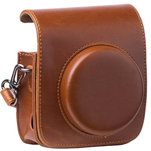 [Kamera Tasche für Fujifilm Instax Mini 90] - ZWOOS Reise Kameratasche Gehäuse Taschen mit Schultergurt/Weinlese PU Leder für Fujifilm Instax Mini 90 / Mini 90 neo Tasche(Braun)