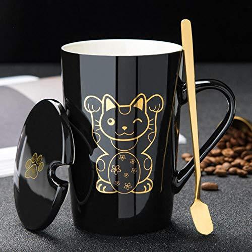 Tazza Boccale Mug Tazzine Tazza da Colazione in Oro con Artiglio di Gatto Nero Tazza da Colazione con Coperchio A Cucchiaio Tazza da tè al Latte Tazze Animali Bicchieri Creativi Regalo per Ragazza, R
