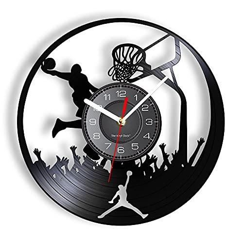 Baloncesto Jump Shot Reloj de Pared Hecho de Vinilo Real Layup Sport Laser Cut LP Gramófono Reloj de Pared Retro Decoración para el hogar 12 Pulgadas
