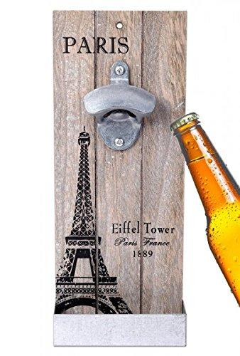 wellgro® Palazzo24–Abrebotellas de pared con contenedor Paris–Antiguo Look–Abrebotellas–Cerveza–Abridor––Hombres–Abrebotellas