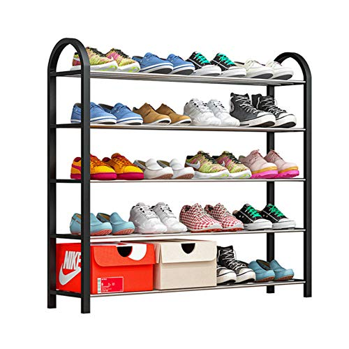 Zapatero Multifuncional Rack de Zapatos de pie Libre de Zapatos de 5 Capas Black Metal Shoe Rack Tower Tower Estantería Uso Amplio (Color : Black, Size : 76x19x71cm)