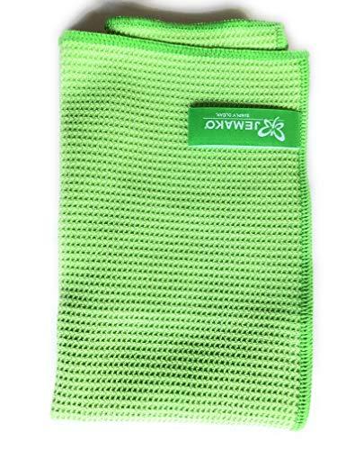 Jemako® Set grün,Profituch 35 x 40cm und Trockentuch 40 x 60cm, Fenster/Haushalt/Glas plus 2 Stück K7plus® Wäschenetz/Wäschesack