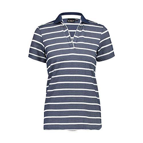 CMP Dames Stripe Polo t-Shirt, Bleu, 38