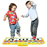 Zooawa Musical Piano Mat, Electronic Keyboard Instrumental Dance Blanket Toy with Play - Record - Playback - Demo Modes for Kids - Colorful