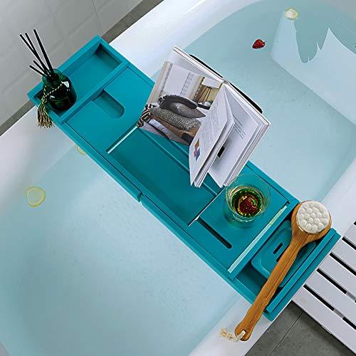 Ruby Lil Bamboo Bathtub Tray Bathroom Caddy – Bathtub Caddy,Durable Bath Tub Organizer Book Holder, Free Soap Dish,Bath for Fun,Blue