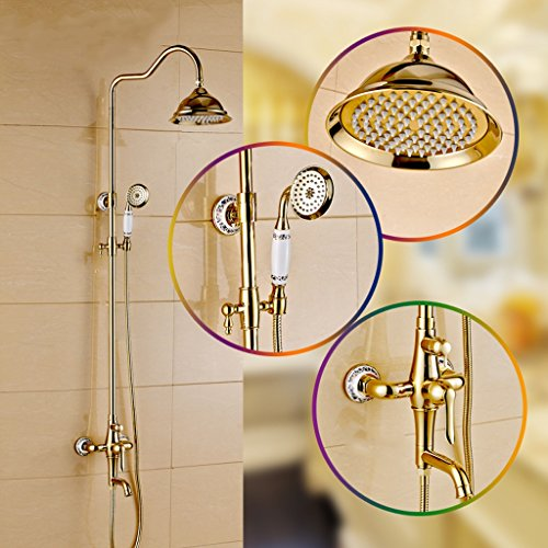 MINGLI All-Copper Gold-Plated Shower Set Multi-Function Home Hotel Universal Shower Bathroom Accessories