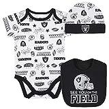 NFL Oakland Raiders 3 Pack Bodysuit Cap and Bib Registry Gift Set, black/silver Oakland Raiders, 3-6M, black/silver las vegas raiders (bcs)