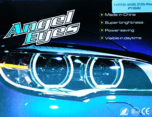 Kit cerchi Angel Eyes LED Cotton 4 x 106 mm Canbus con proiettore bianco 6000 K