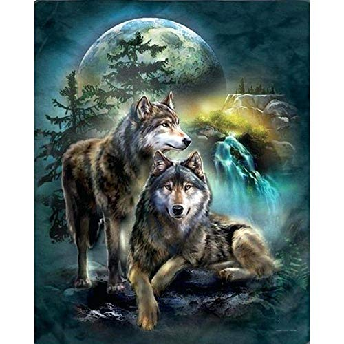 Xnjkws DIY 5D Diamond Painting Wolf Animal, Cross Stitch Kits Arts Paintings, Living Room Bedroom Wall Decor Painting