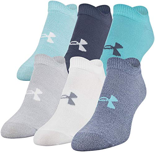 Under Armour Women's Essential 2.0 No Show Socks, 6-Pairs, Blue Heights Assorted, Shoe Size: Womens 6-9