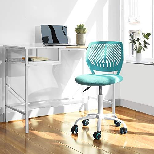 FurnitureR Silla de Escritorio de Trabajo de Oficina Silla de Estudio Ajustable para niños con Respaldo Medio Turquesa