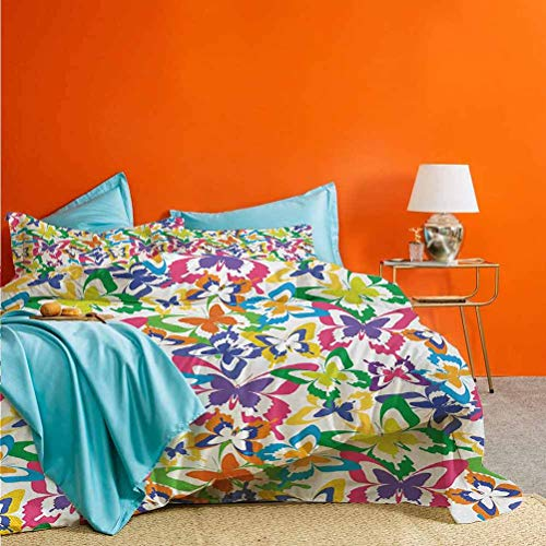 Butterfly 3pc Duvet Cover Set Different Sized Butterfly Silhouettes Sense of Change Movement Lifestyle Art Best Material/Highly Durable Multicolor (1 Duvet Cover and 2 Pillow Shams) King Size