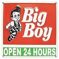 エンボスプレート 看板 (ビッグボーイ緑赤) 正方形 31cm 立体 24時間営業 ガレージ ティンサイン オールドアメリカン エンボスサイン 店舗用 西海岸風 インテリア アメリカン雑貨