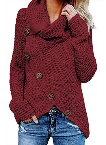 FIYOTE Damen Winterjacke Warm Strickjacke Rollkragen Cardigan Strickpullover Casual Wrap Wickel Pullover Sweater 7 Farbe S/M/L/XL/XXL, 1-rot, S