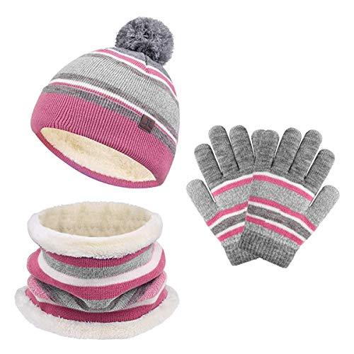 stroll the moon Kids Winter Hat Scarf Gloves Set, Baby Toddler Knit Beanie Neck Warmer Gaiter Gloves 3PC, Pom Stripe Caps for Boys Girls Children (pink & gray), Large