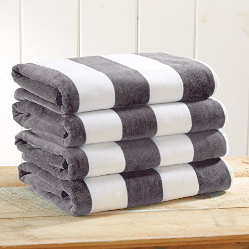 4 Pack Plush Velour 100% Cotton Beach Towels. Cabana Stripe Pool Towels for Adults. (Charcoal Grey, 4 Pack- 30