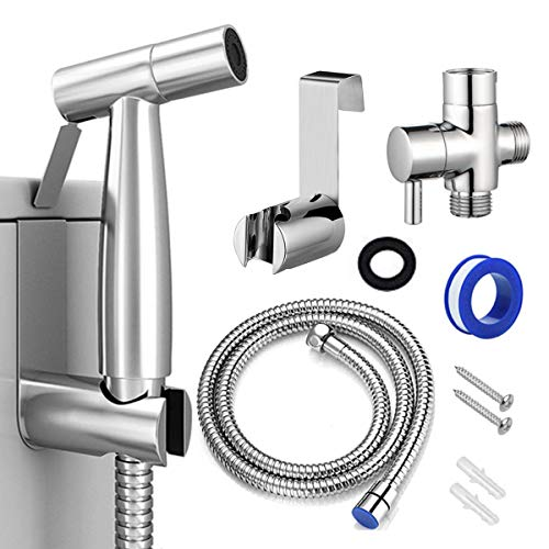 Bidet Sprayer for Toilet, Handheld Cloth Diaper Sprayer, Bathroom Sprayer Kit Spray Attachment with Hose, Stainless Steel Easy Install Great Water Pressure for Bathing Pets, Feminine Hygiene