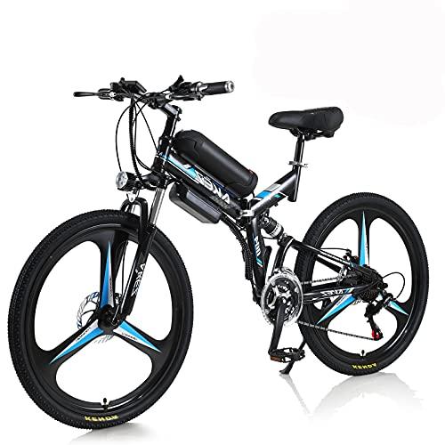Hyuhome Bicicleta EléCtrica para Hombres y Mujeres Adultos, 26' E-Bike Plegable 250w / 350w 36v 10A 18650 BateríA Litio Bicicleta de MontañA Plegable con Sistema Shimano 21 Velocidades(Black, 350W)