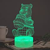 Winnie Pooh Night Light for Girl Teddy Honey Bear Cartoon 3D Optical 7 Color Change Decor Room Baby Sleep Mood LED Table Lamp Holiday Birthday Xmas Party Supply Kid Friend Unique Gift for Teens Toy