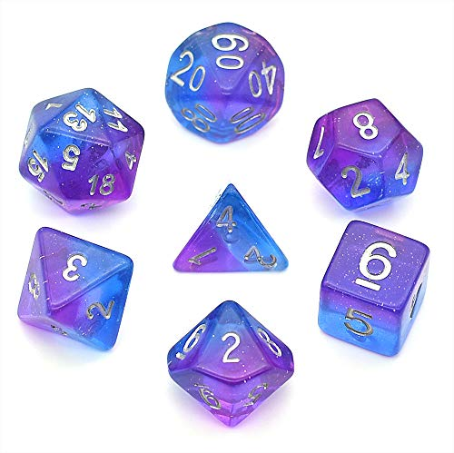 HDdais Polyhedral 7-Die Dice Set for Dungeons and Dragons RPG with Blue Velvet Pouch (Pink and Blue)
