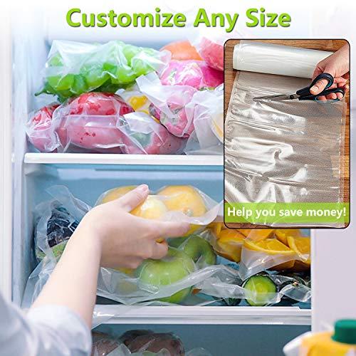 Aobosi Vacuum Sealer Bags Vacuum Food Sealer Rolls BPA Free & LFGB Approved Food Storage Bags 2 Pack Roll 20cm X 6m and 28cm X 6m, for Sous Vide Cooker and All Vaccum Food Sealer Machines