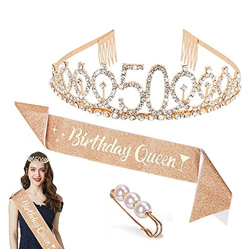 Zaloife Corona de Cumpleaños 50, Conjunto de Fiesta de Cumpleaños de Corona de Cumpleaños, Accesorios de Decoración para Niños, Regalo de Fiesta para Mujeres (Dorado)
