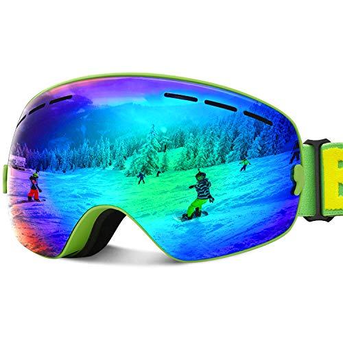 JOJO LEMON Ski Goggles for Kids Over Glasses Boys Girls Snow Sport Goggle for Teenagers Child Snowboarding Clear Uv Protection VLT 17%