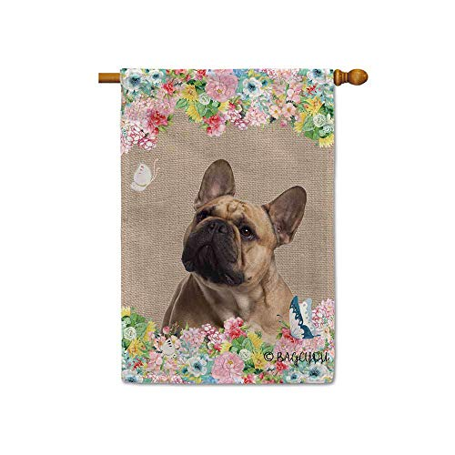 BAGEYOU Hello Spring Flowers with My Love Dog Frenchie Decorative Outdoor House Flag Cute Puppy Summer Floral Seasonal Banner 28x40 Inch Print Double Sided