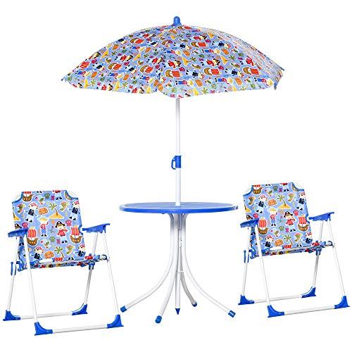 Outsunny 4tlg. Kindersitzgruppe Gartentisch 2 Klappstühle Sonnenschirm Camping Kindersitzgarnitur Gartenmöbel für 3-5 Jahre Blau