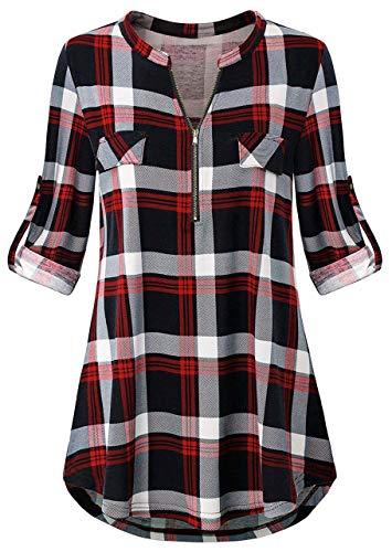 Odosalii Damen V-Ausschnitt Kariert Bluse 3/4 Ärmel Langarm Reißverschluss Tunika Longshirt Hemd Tops T-Shirt (XXX-Large, A_Rot Kariert)
