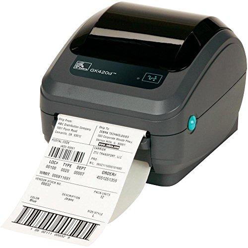 Zebra GK420d Thermodirekt 203x 203DPI Drucker für Etiketten–Drucker für Etiketten (Thermodirekt, 203x 203DPI, 127mm/Sek, 99,1cm, 10,4cm, schwarz)