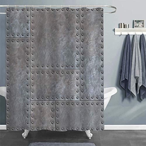 Decoraciones para el hogar con Textura de Metal Forjado Antiguo, Placas de Metal manchadas Antiguas con Cortina de Ducha de Fondo de Remaches, Gris Acero X-Long
