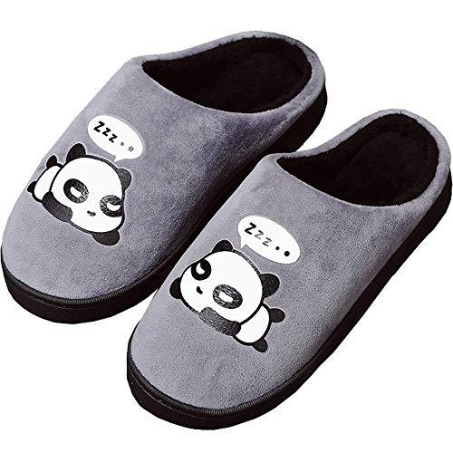 Zapatillas de Estar por Casa para Niñas Niños Otoño Invierno Zapatillas Mujer Hombres Interior Caliente Suave Dibujos Animados Panda Zapatos Gris 37/38 EU = 38/39 CN