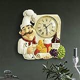 XWYWP orologio da parete vintage orologio da parete decorazione della casa in resina chef statua orologio muto orologio al quarzo per soggiorno cucina decorazione parete appeso orologio SZ-0029