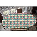 LCGGDB Mantel de poliéster elástico geométrico, estilo vintage, bohemio, retro, con forma hexagonal, decorativo, rectangular, ovalado, para mesas de hasta 122 cm de ancho x 172 cm de largo.